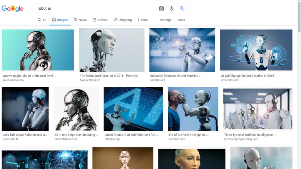 Google-Bildersuche nach'Robot AI'