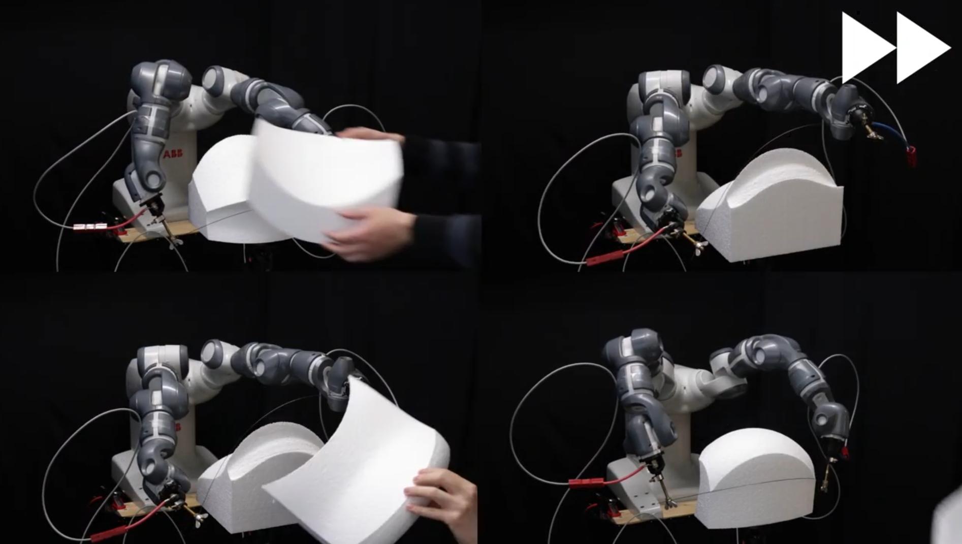 Roboter schneidet elegant Skulpturen aus Styropor